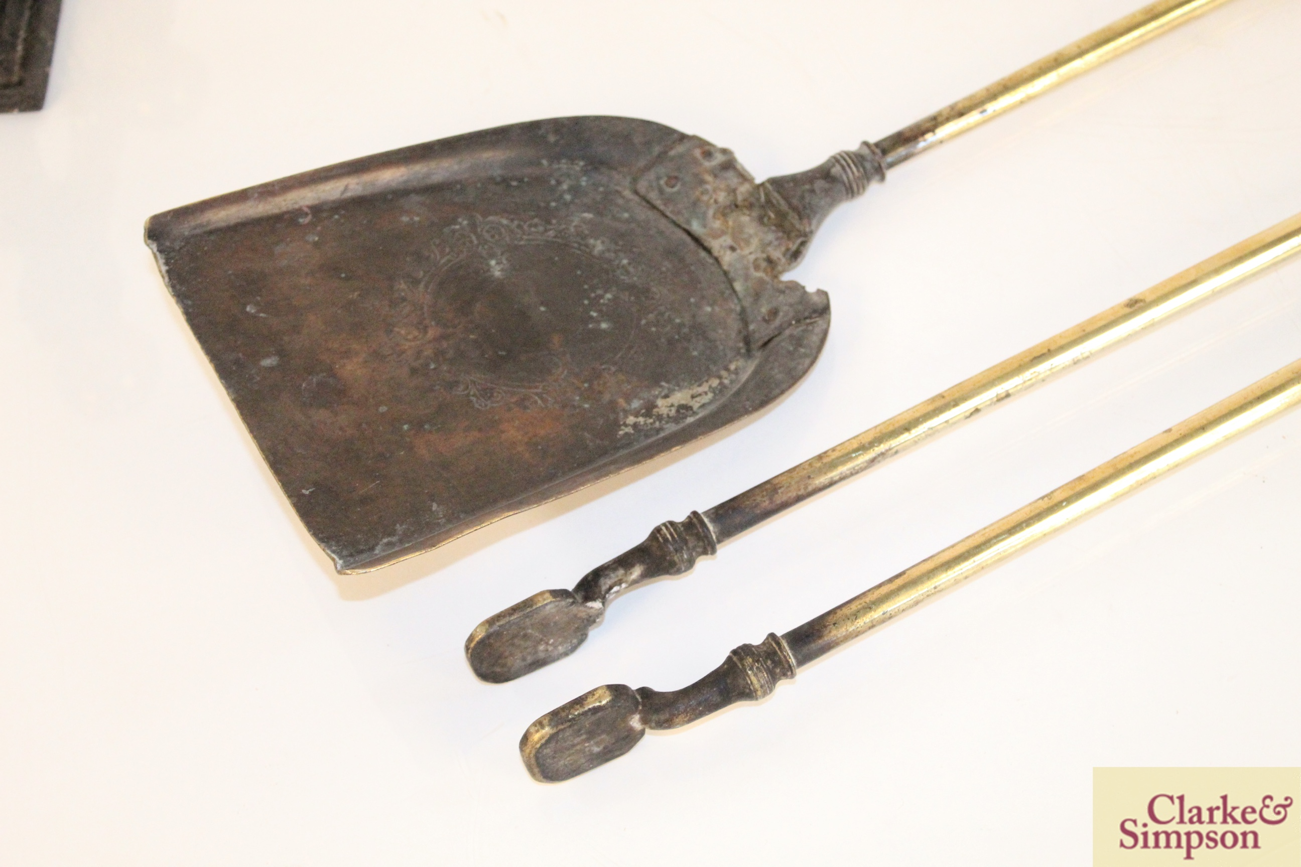 A pair of brass fire implements and a brass and c - Image 4 of 6