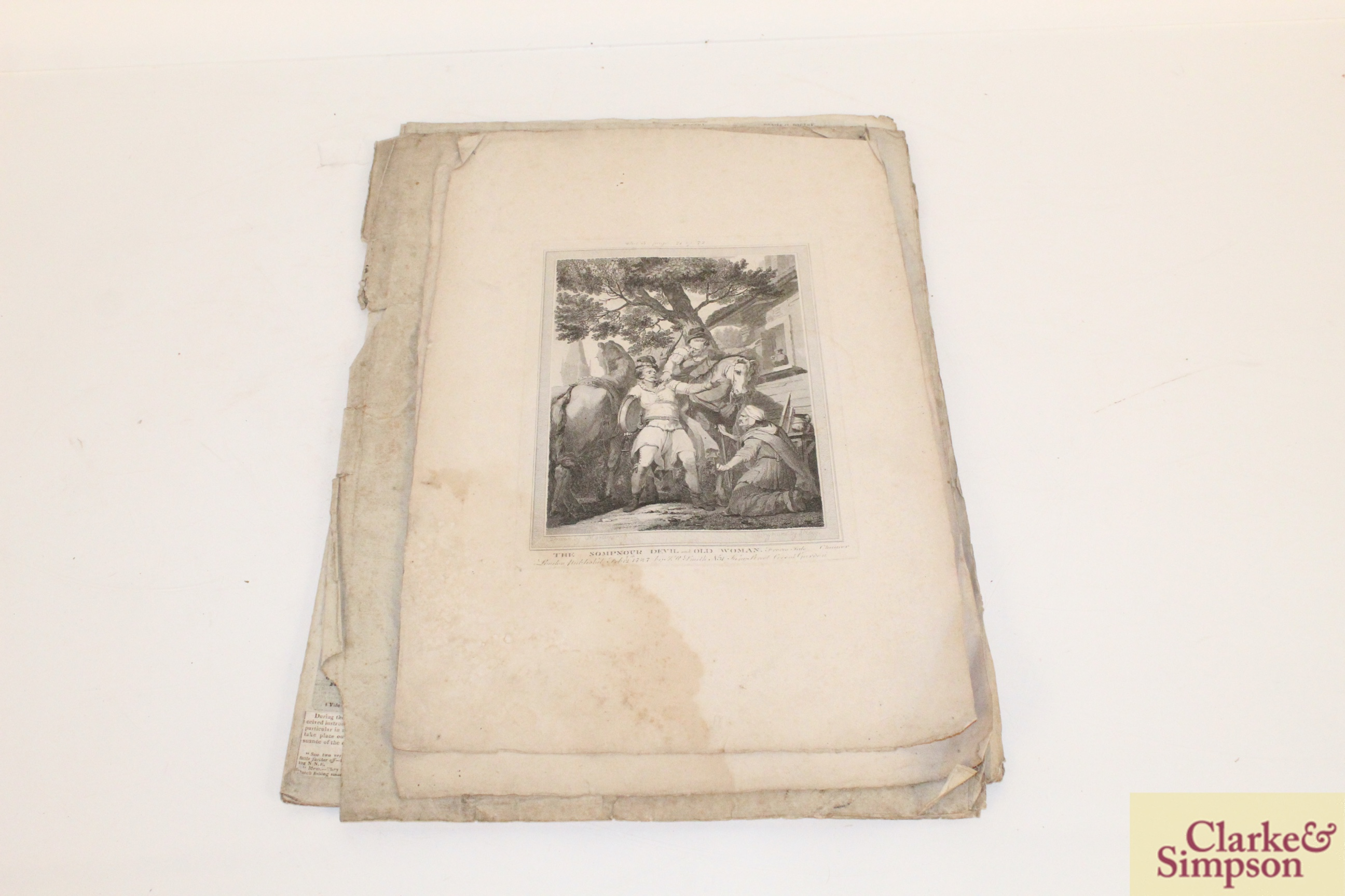 """Two antique black and white engravings """"Palamon"""" a - Image 4 of 4"""