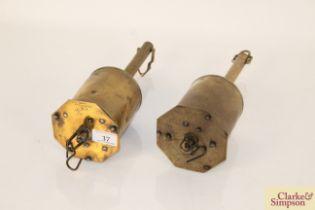 Two 19th Century downhearth brass clockwork bott