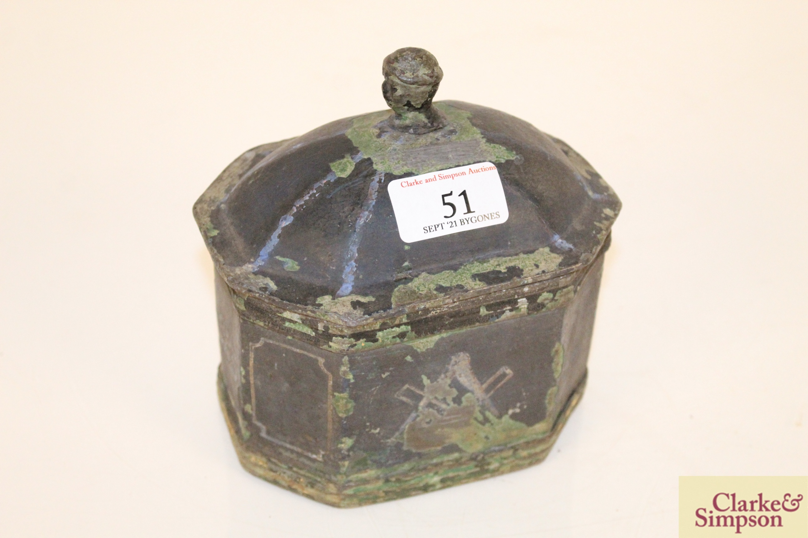 A lead casket containing a faux ivory skull - Image 2 of 7
