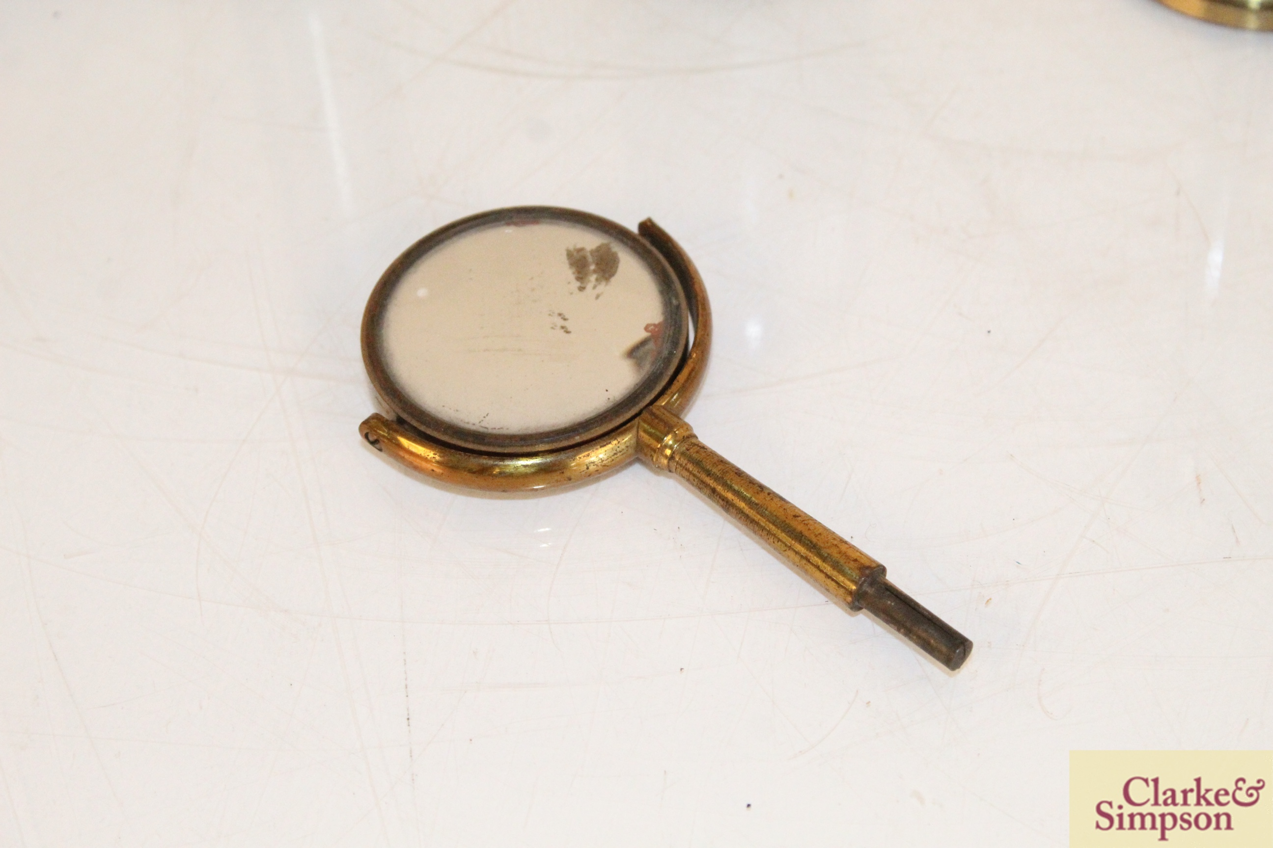 A brass cased magnifier on stand by Dunscombe of B - Image 9 of 9
