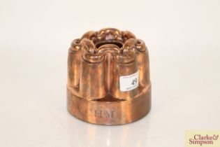 A Victorian high grade copper jelly mould with cha