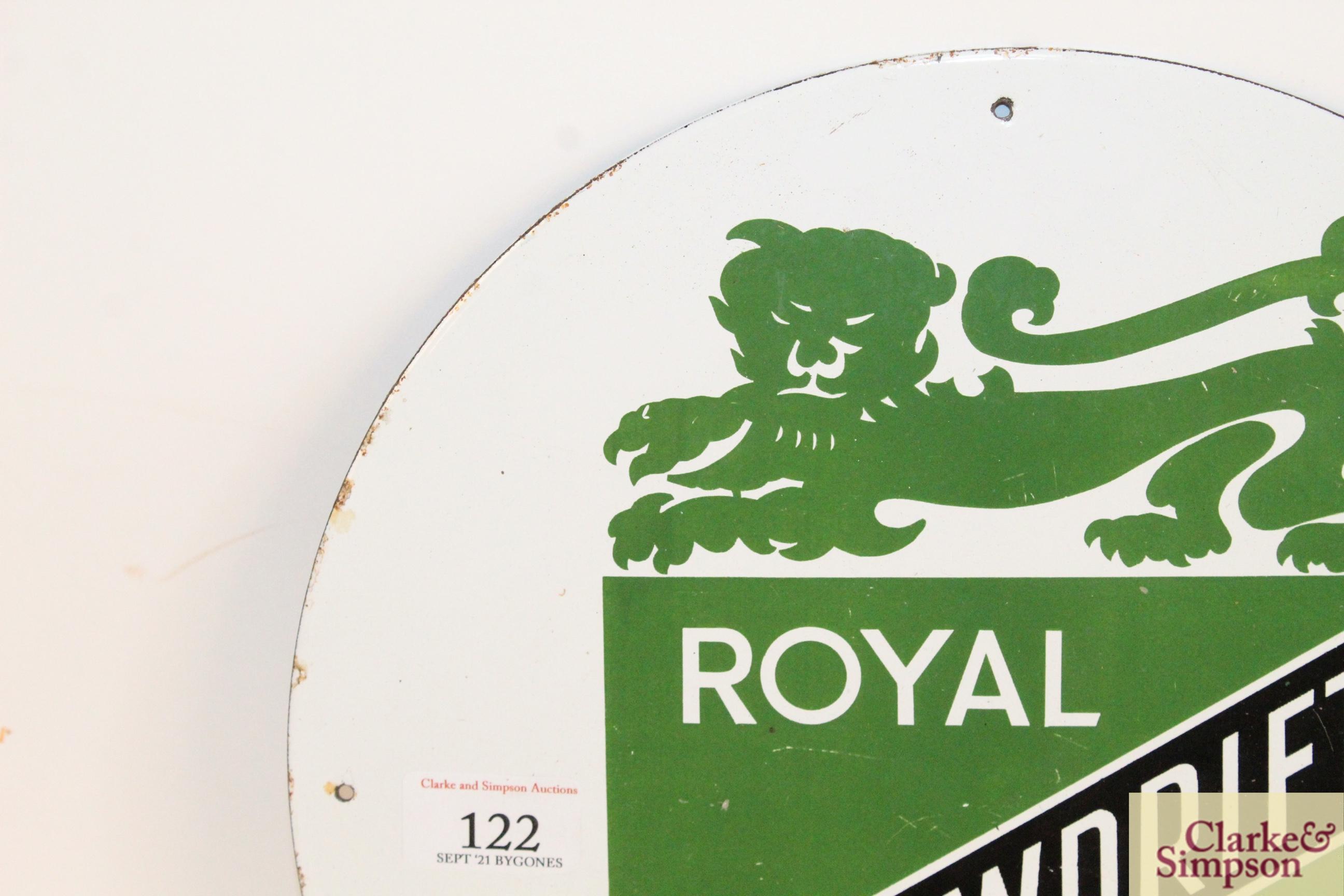 "A circular enamel sign for ""Royal Snowdrift Oil"", - Image 2 of 10"