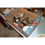 A box of miscellaneous items to include LNER sauce