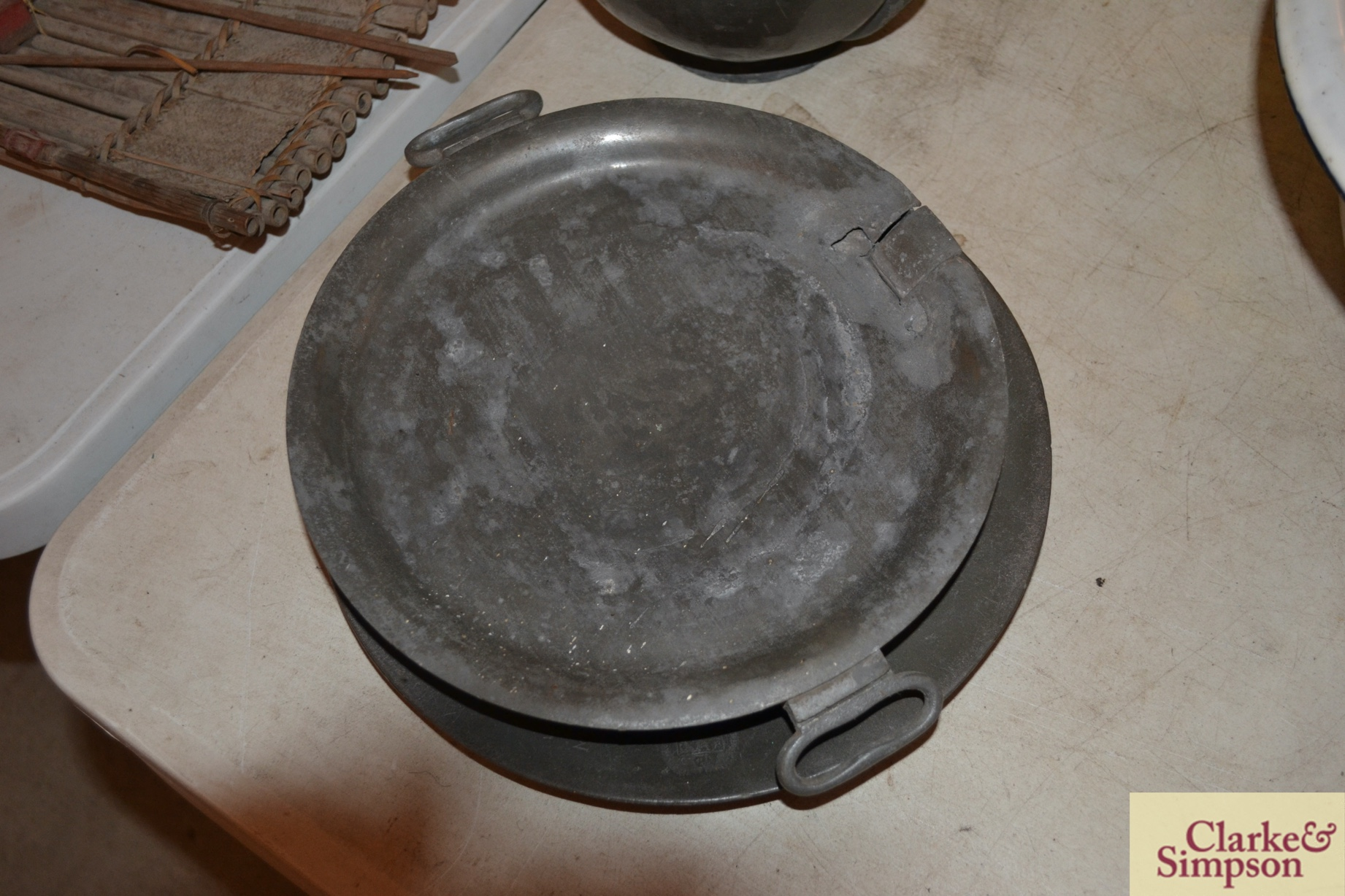 Two antique pewter plates, a pewter hop dish and - Image 3 of 5