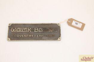 "A Webster & Bennett Ltd of Coventry brass sign, 8"""