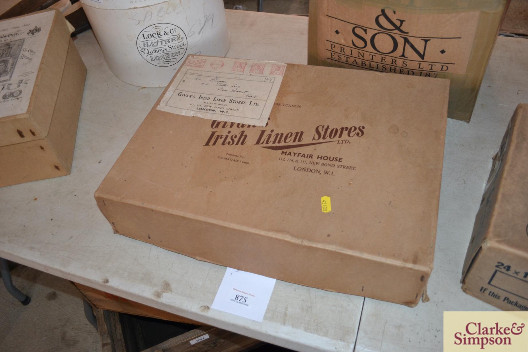 An advertising cardboard box for Girvans Irish Lin