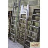A pair of vintage wooden steps