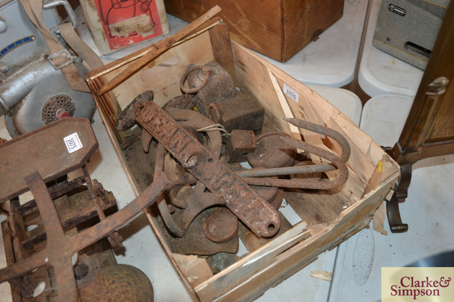A quantity of various scale weights, a cast iron
