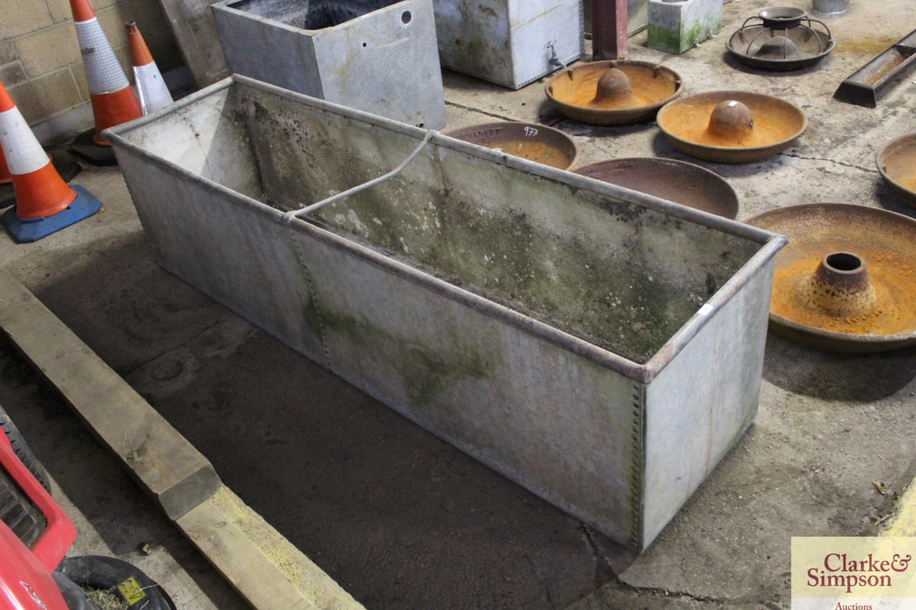 A large galvanised trough approx. 8' long x 3' dee - Image 2 of 4