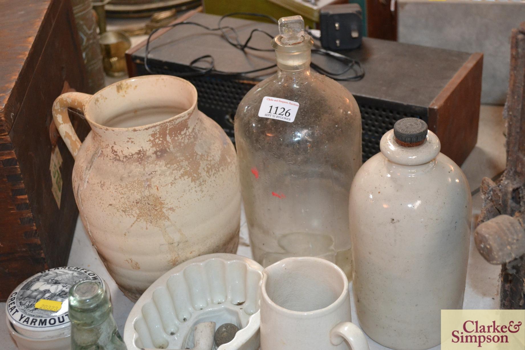 A white stone glazed bottle, a white china jelly m - Image 4 of 4