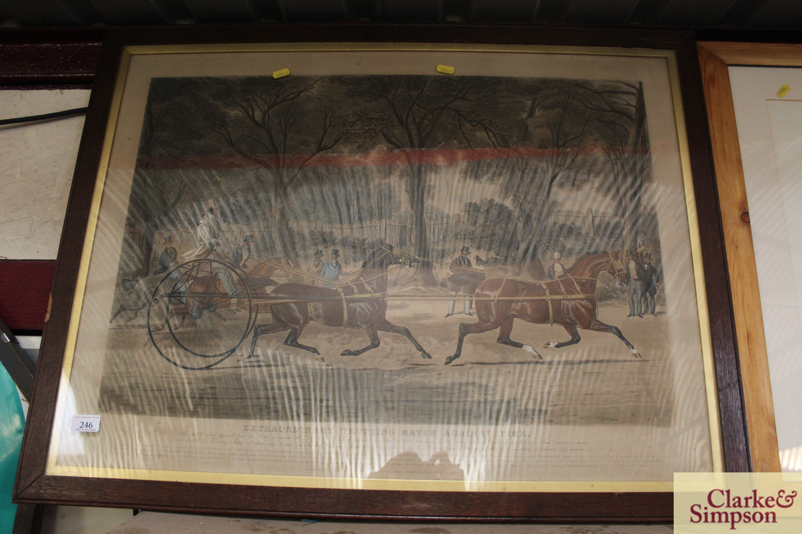"""A 19th Century lithograph """"Extraordinary Trotting"""