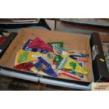 A box of 1960's souvenir pennants, mostly from Iri