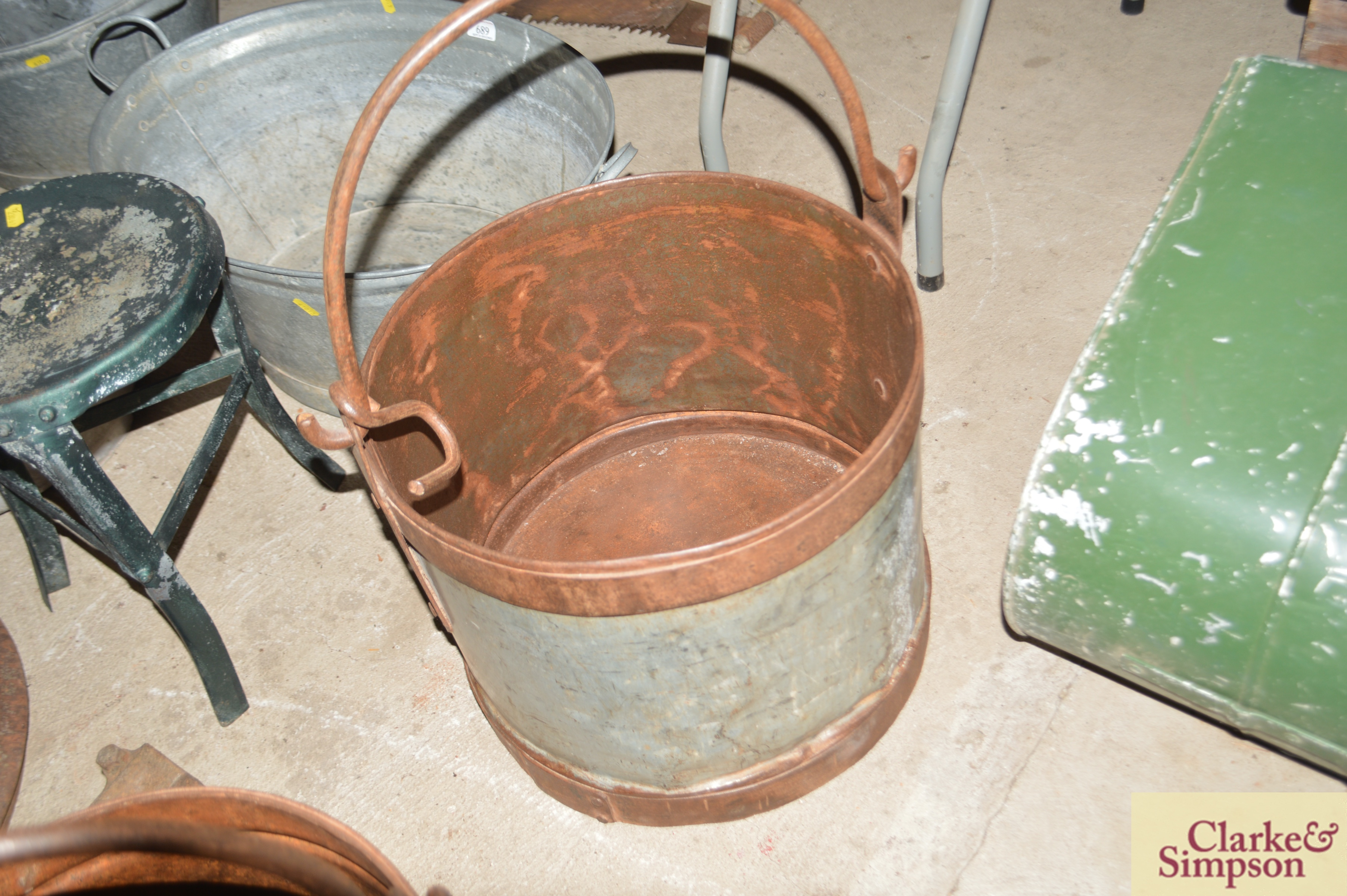 Three graduated galvanised and iron pails with swi - Image 7 of 7