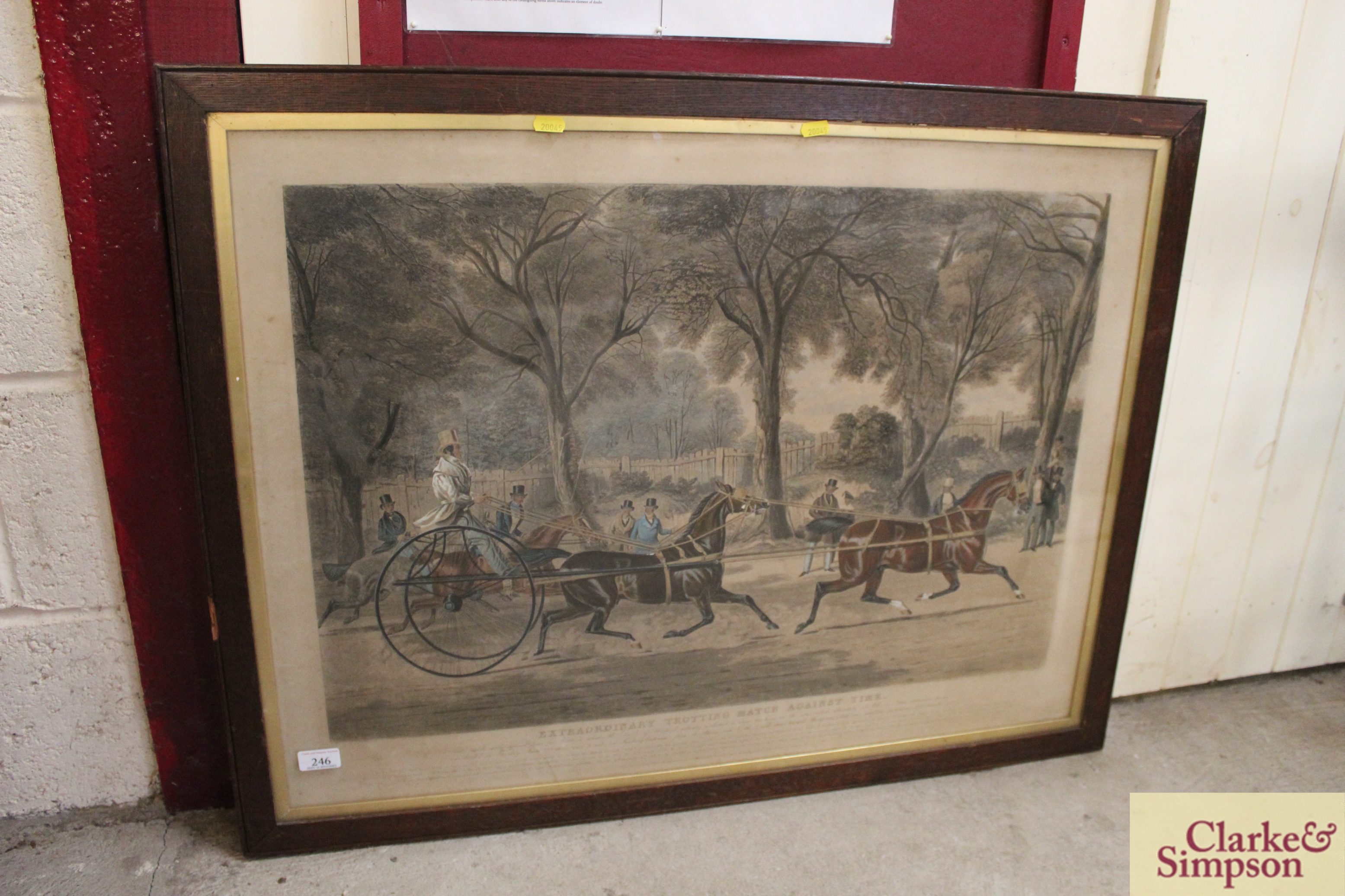 """A 19th Century lithograph """"Extraordinary Trotting - Image 2 of 6"""