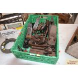 A tray and contents of various moulding planes, two Stanley planes (no 4 and 6) and other tools etc.