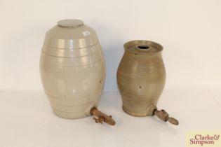 Two glazed stoneware barrels, 4 gallon and 2 gallo