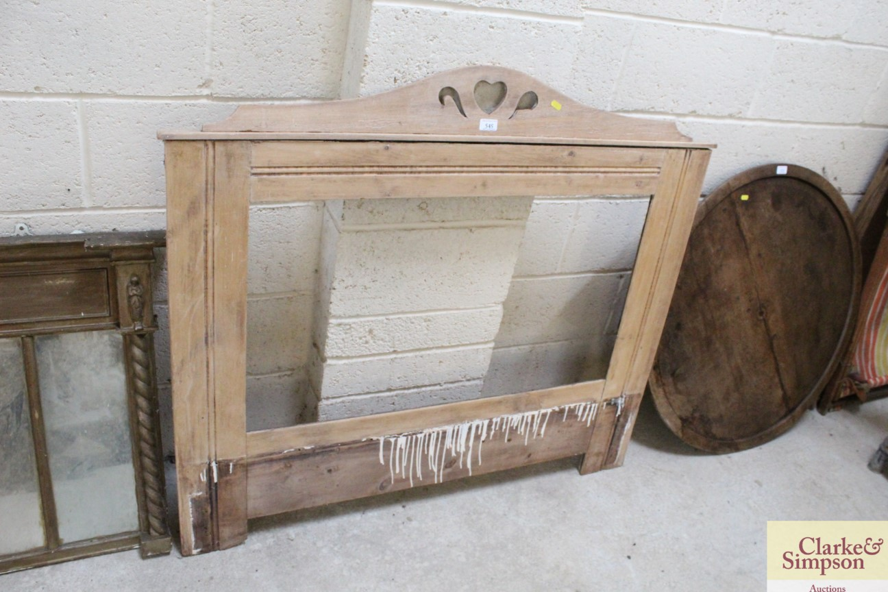 A late Victorian / Edwardian pine framed overmante