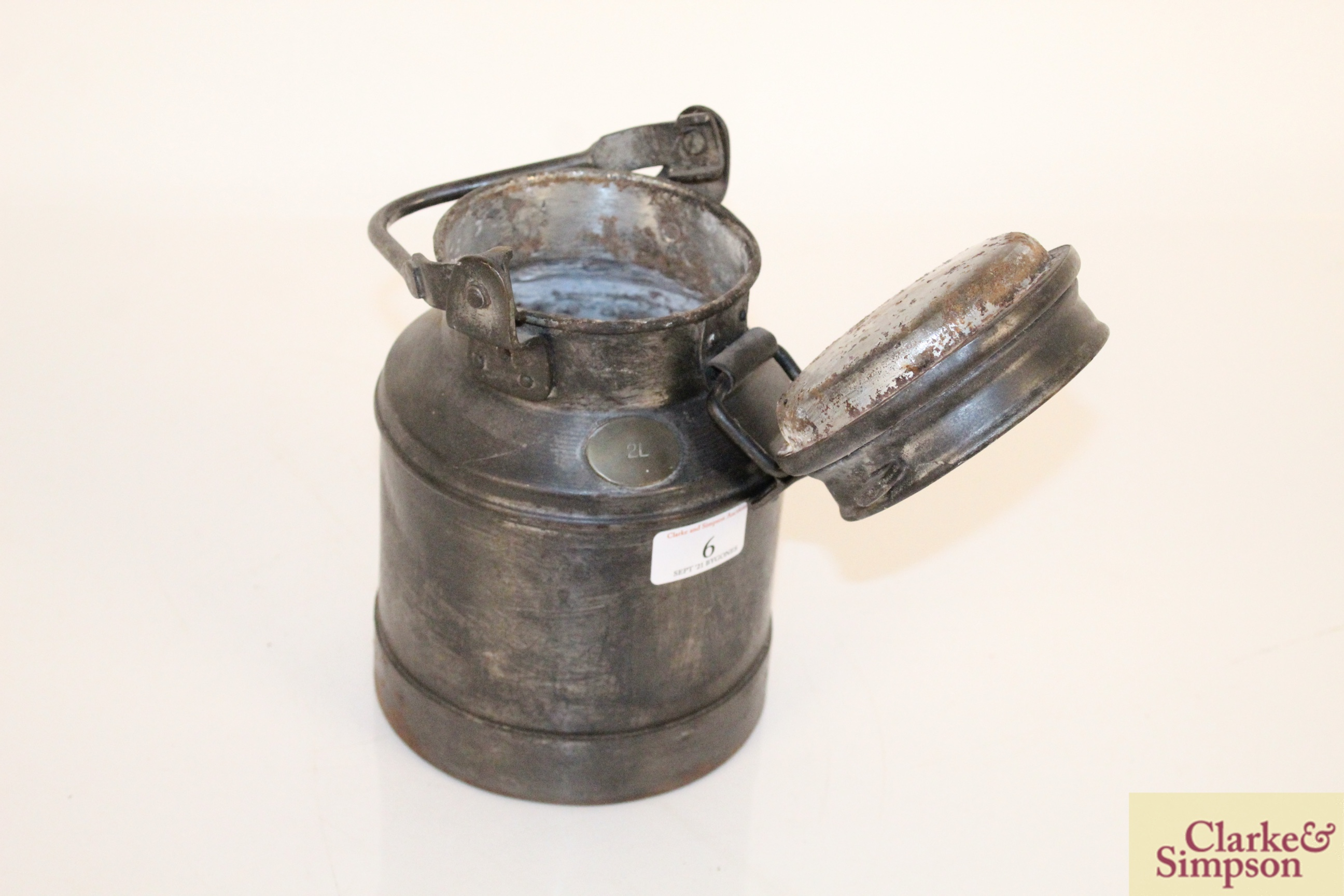 A 2 litre steel and brass mounted churn - Image 5 of 6