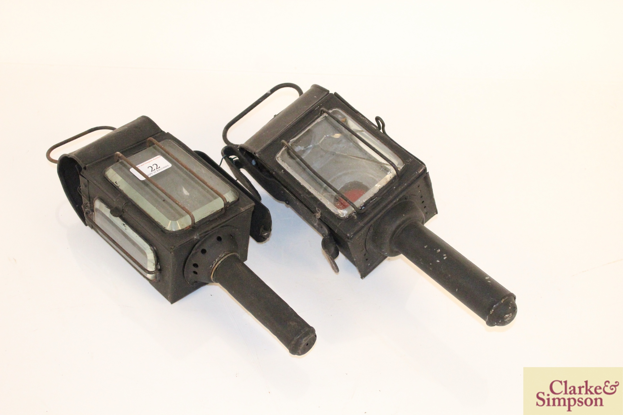 Two carriage lamps