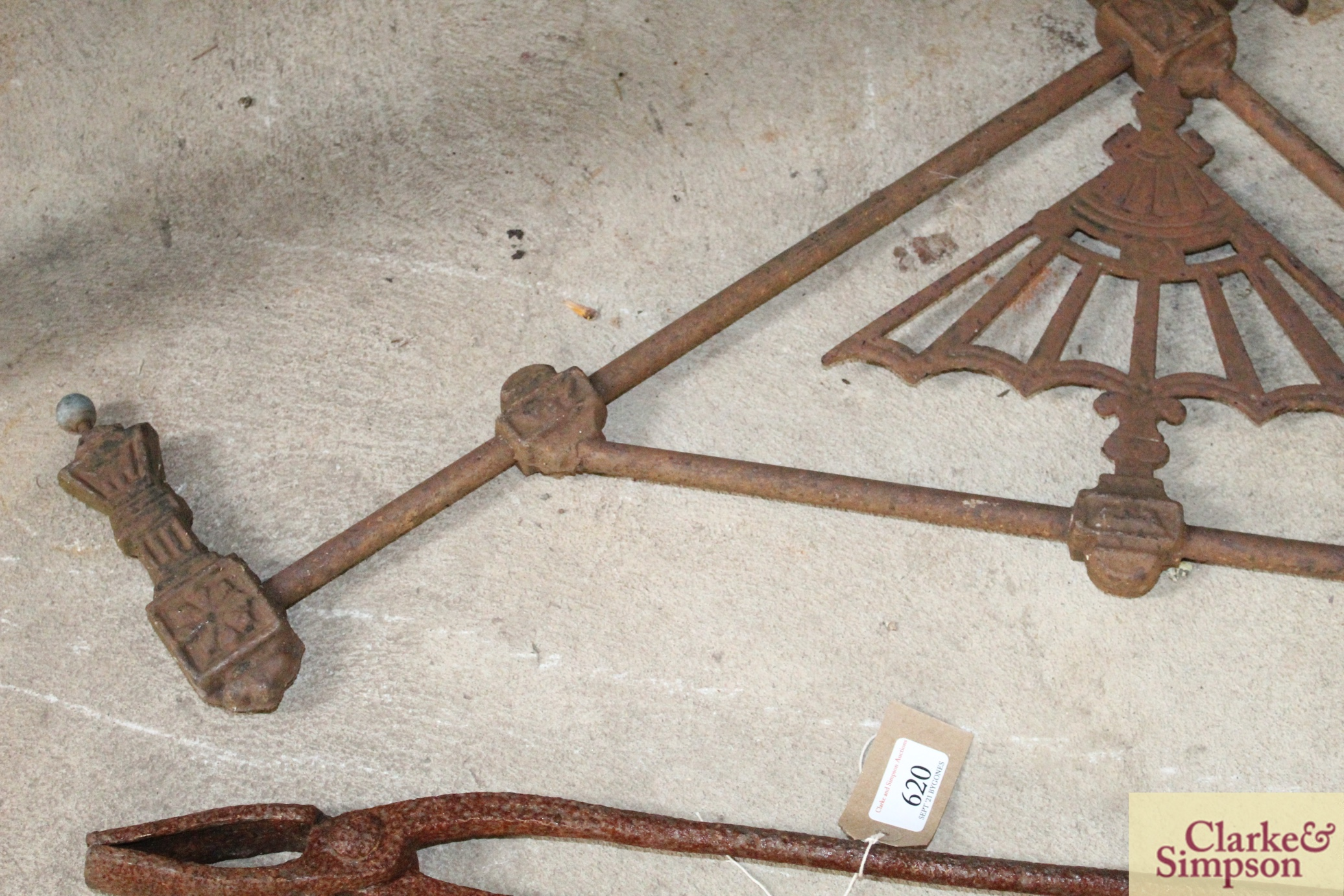 A pair of iron foundry tongs and a decorative iro - Image 6 of 6