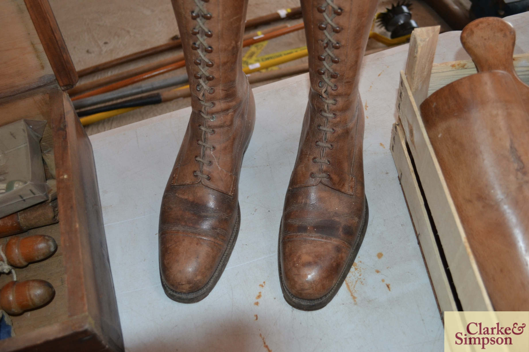 A pair of early 20th Century vintage leather boots - Image 5 of 6