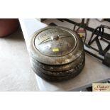 Five vintage Vauxhall hub caps