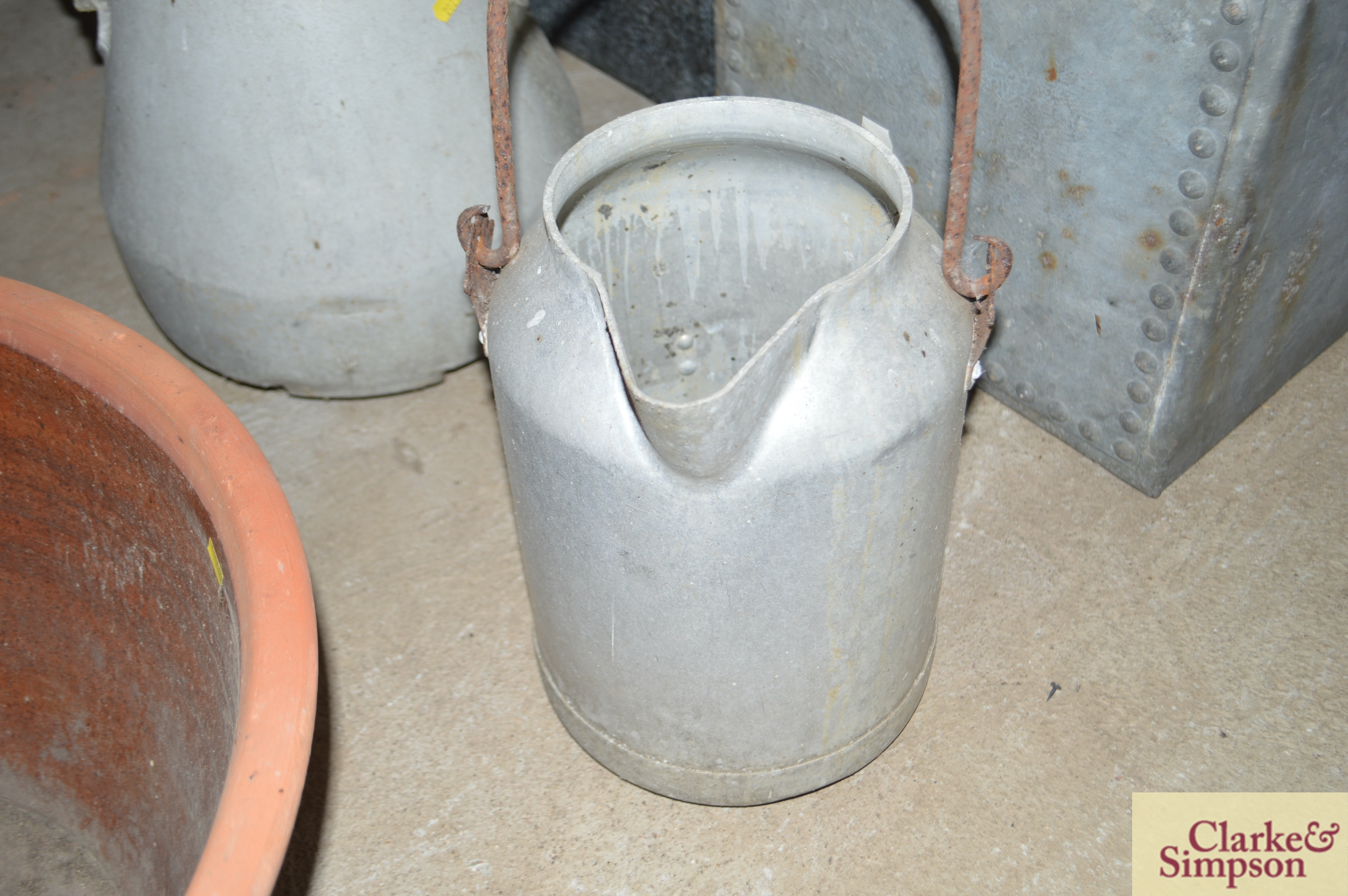 A milk churn with swing handle and another with p - Image 2 of 7