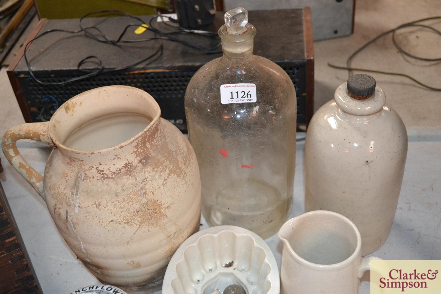 A white stone glazed bottle, a white china jelly m - Image 3 of 4