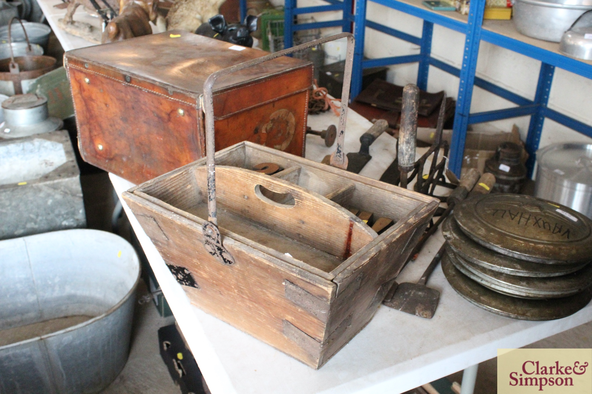 A housemaids wooden box with metal swing handle an - Image 2 of 4
