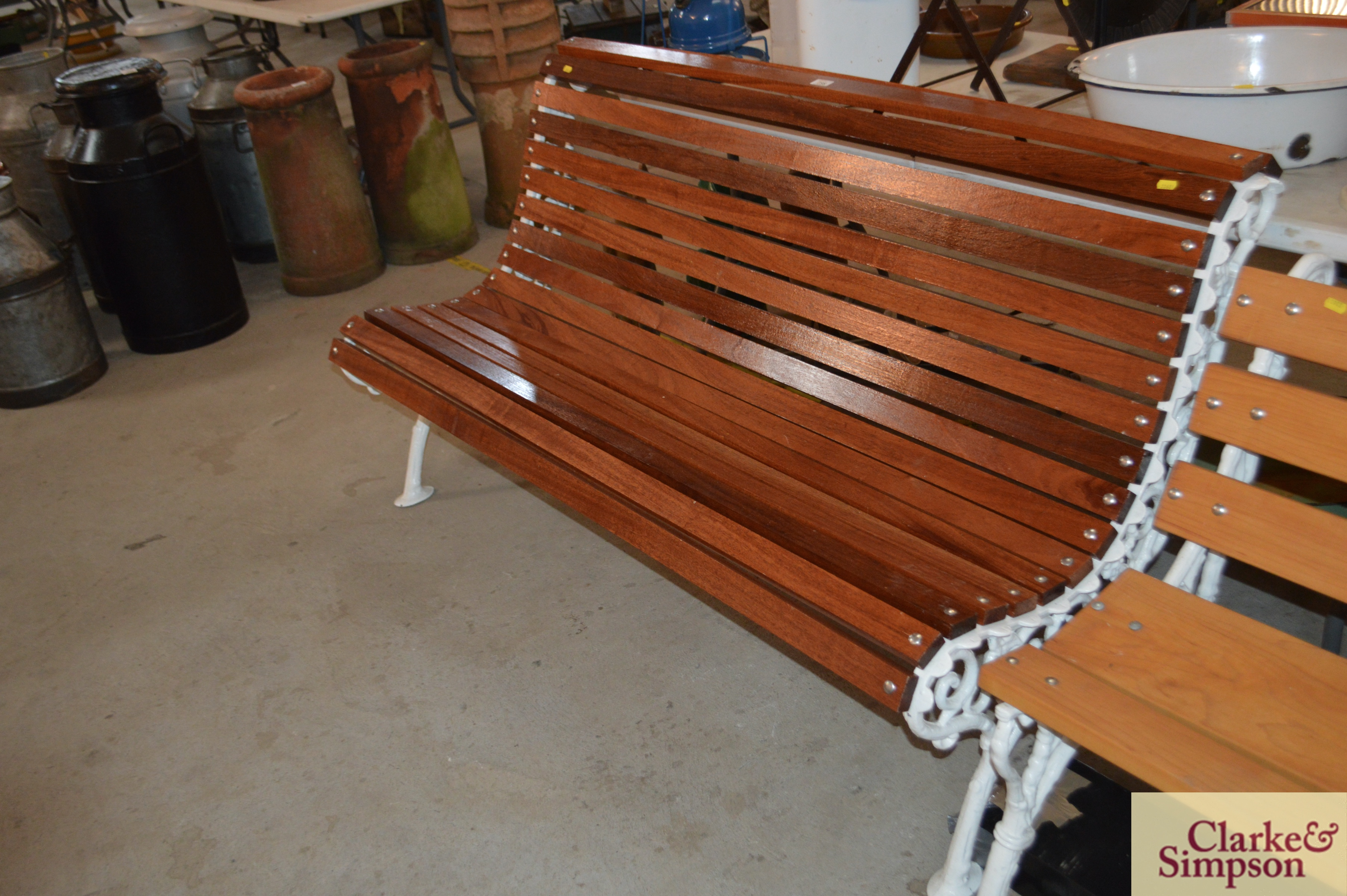 An ornate cast iron and teak slatted roll top benc - Image 2 of 4