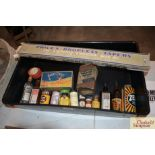 A tray containing various vintage chemist stock in