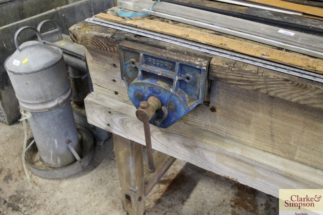 A vintage wooden work bench complete with Record v - Image 5 of 5