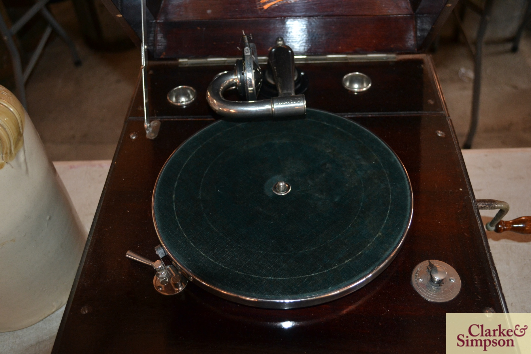 A Dulcetto table model gramophone and ten 78rpm re - Image 4 of 8