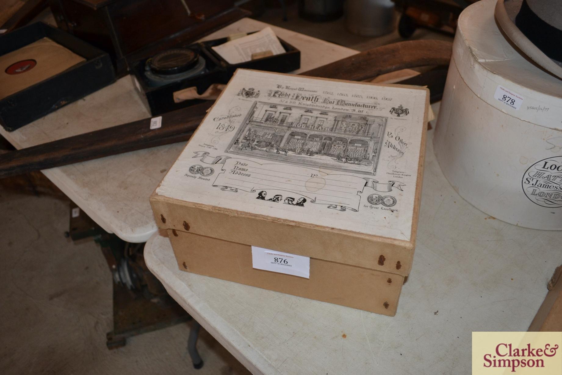 A cardboard advertising box for Robert Heath Hat M