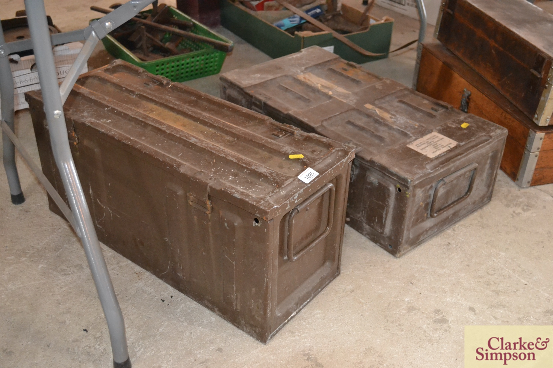 Two metal ammo boxes - Image 2 of 2