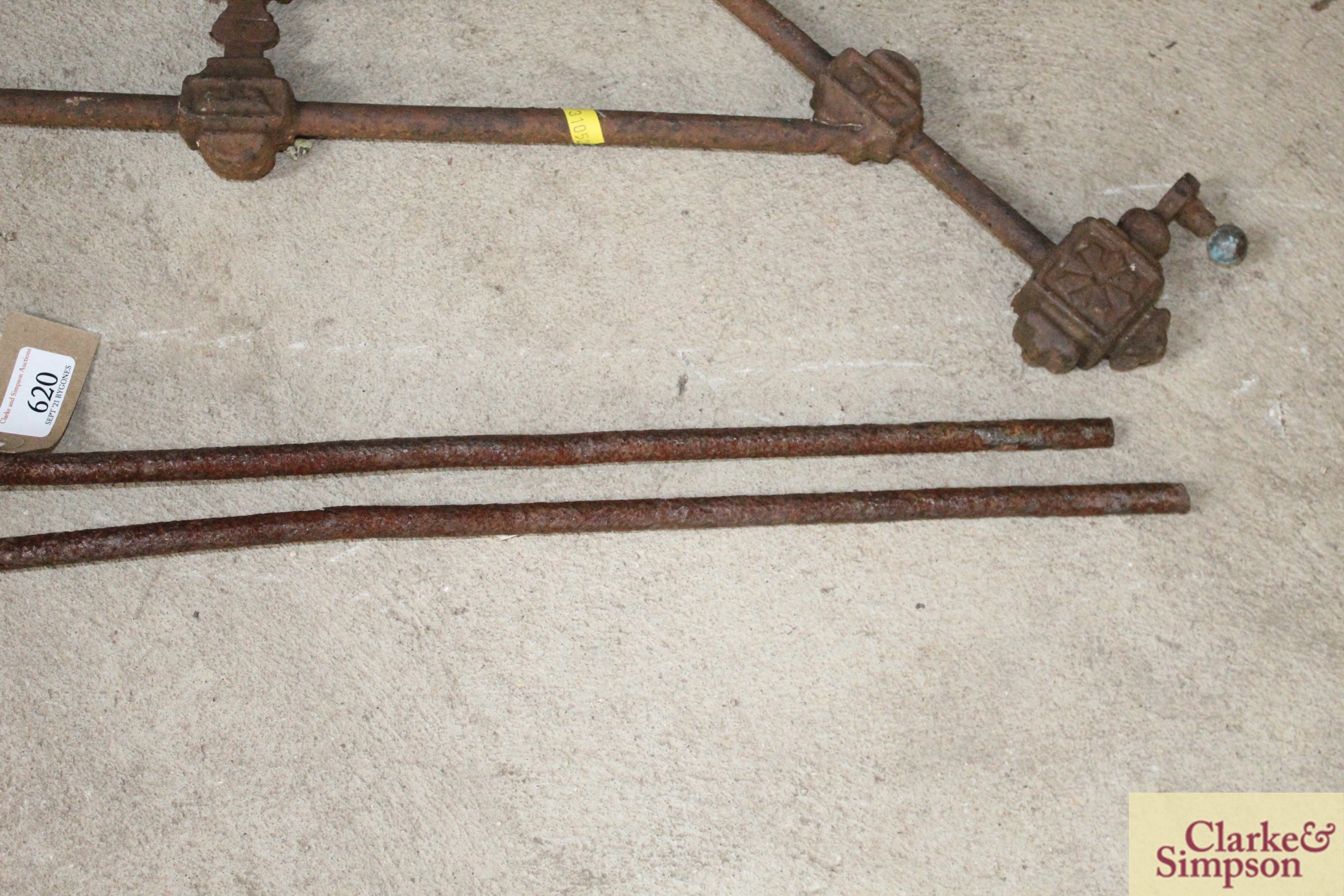 A pair of iron foundry tongs and a decorative iro - Image 3 of 6
