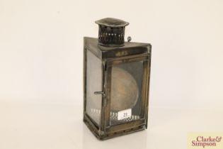 A vintage brass corner lamp