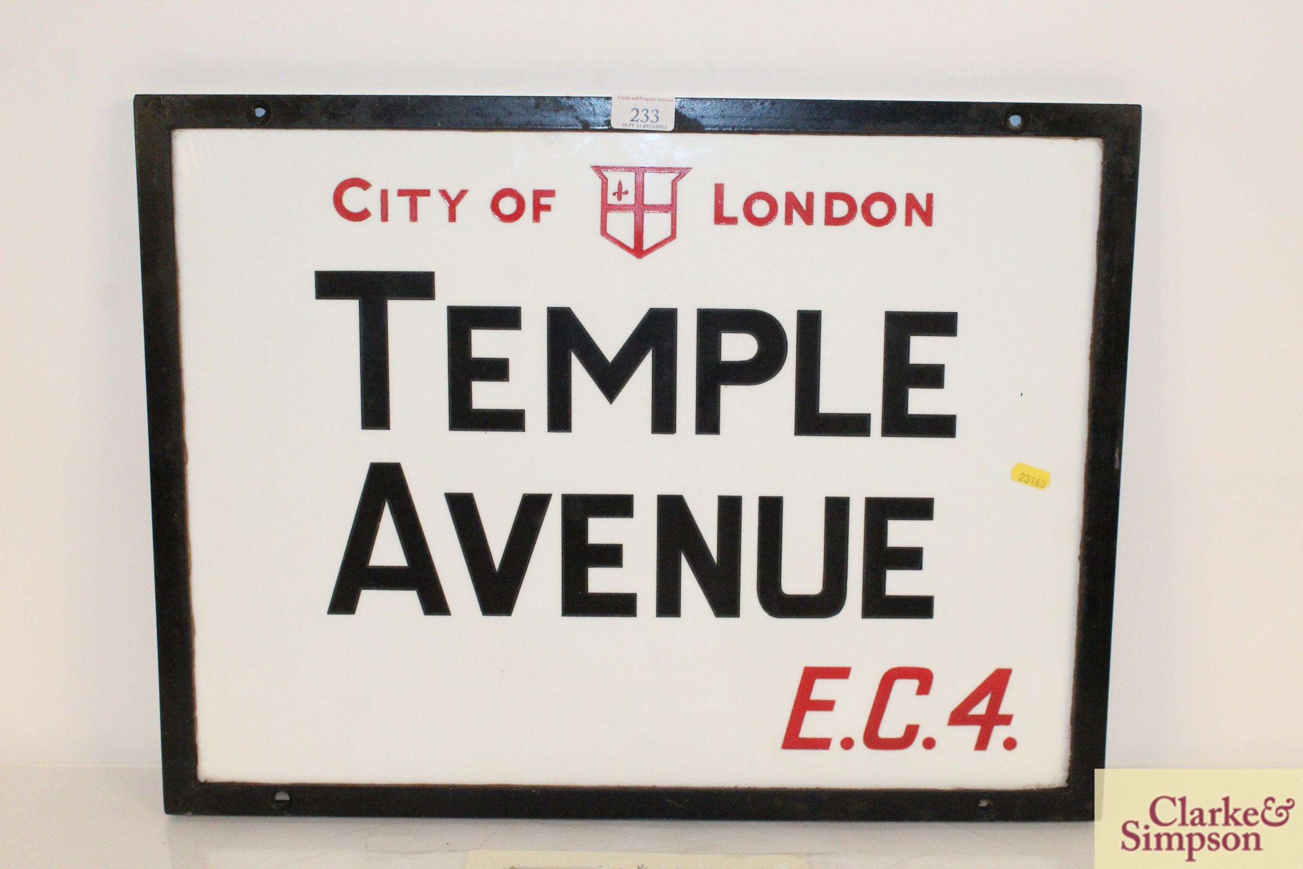 "An original ""Temple Avenue EC4"" vitreous white gla - Image 2 of 7"