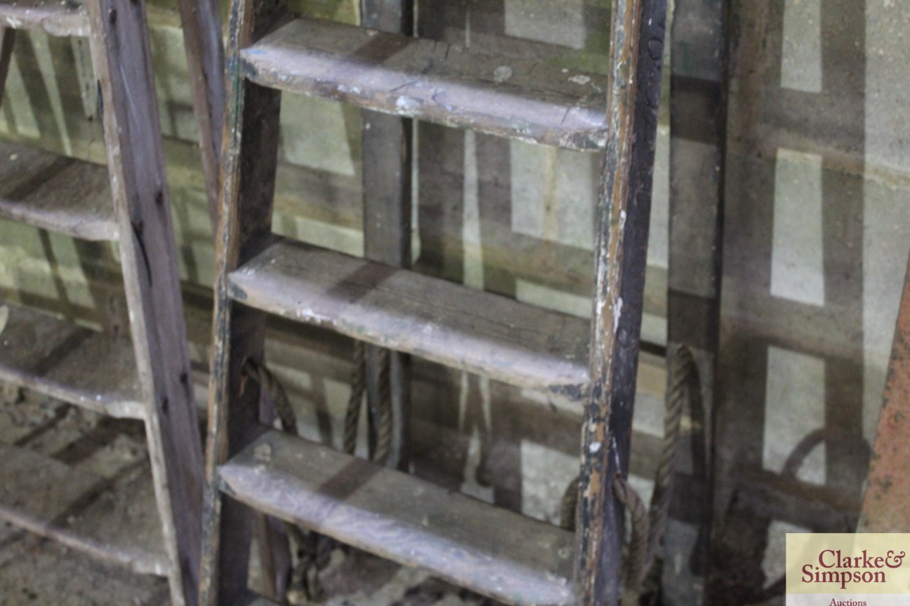 A set of tall vintage wooden steps with carved nam - Image 4 of 5