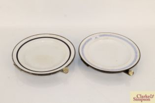 Two Victorian enamelled warming plates (good condi