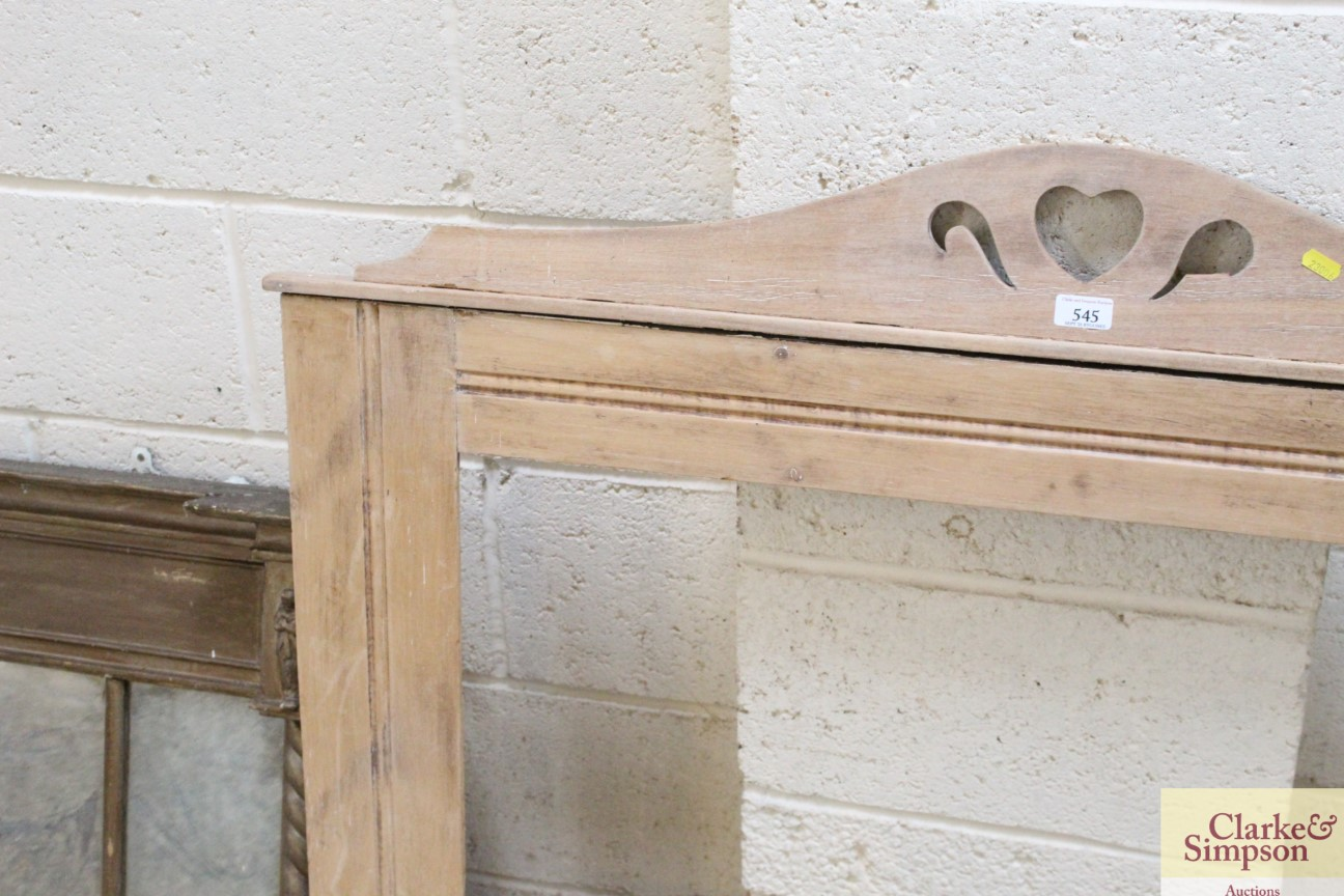 A late Victorian / Edwardian pine framed overmante - Image 2 of 5