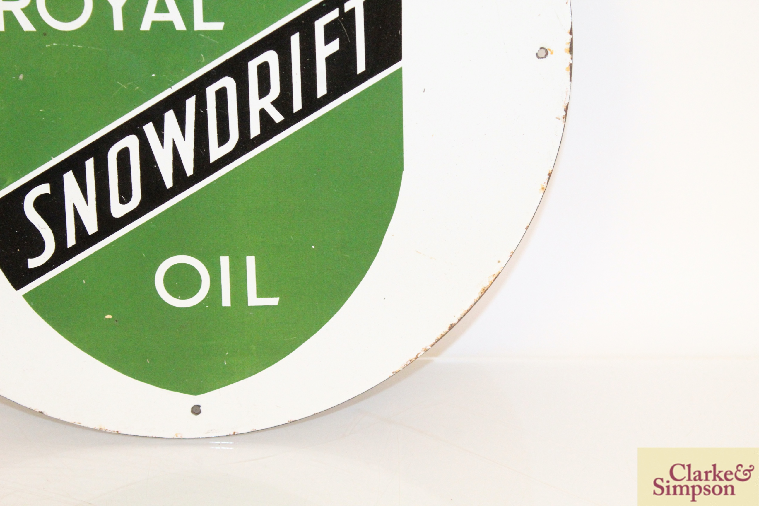 "A circular enamel sign for ""Royal Snowdrift Oil"", - Image 4 of 10"