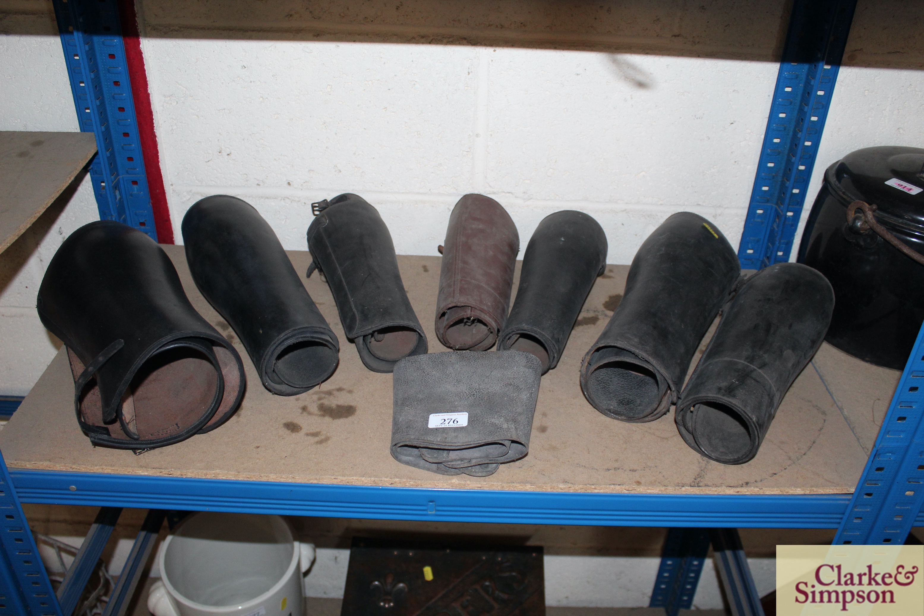 A quantity of various sized leather buskins
