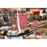 """A wooden model of the Thames sailing barge """"Ventur"""