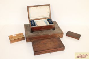 A 19th Century mahogany sewing box, another sewing box and th