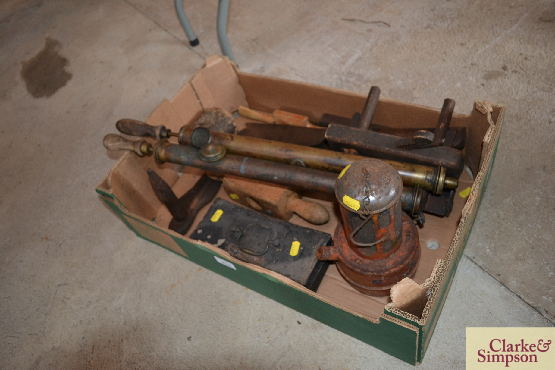 Two vintage brass garden sprayers, a cast iron last, - Image 3 of 3