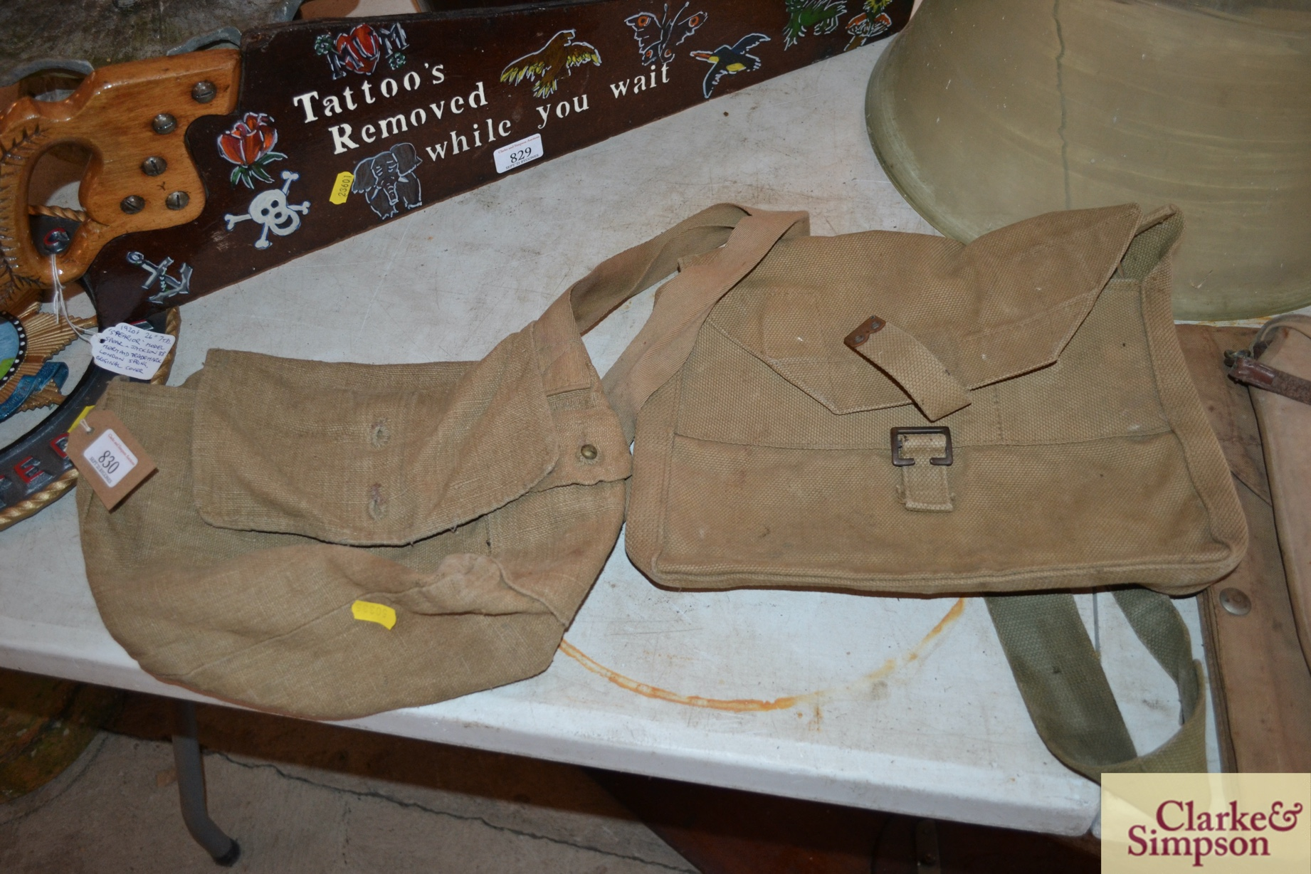 Two ex-war department canvas carrying bags