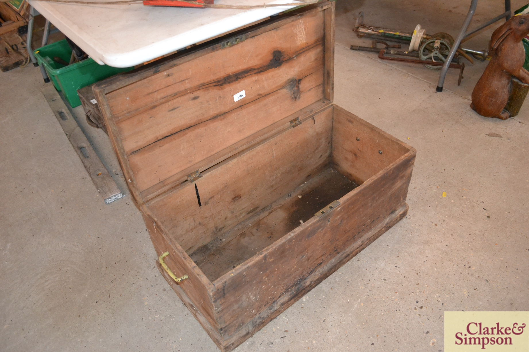 A vintage pine wooden tool box