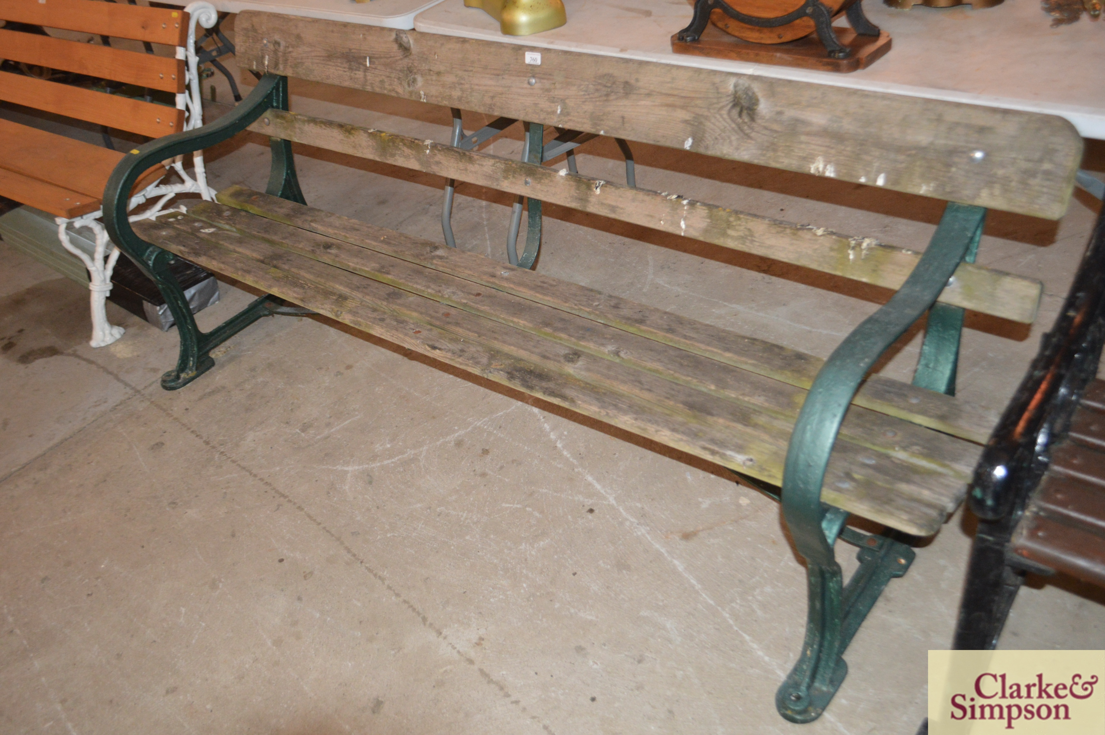 A cast iron and wooden slatted railway type bench - Image 2 of 4